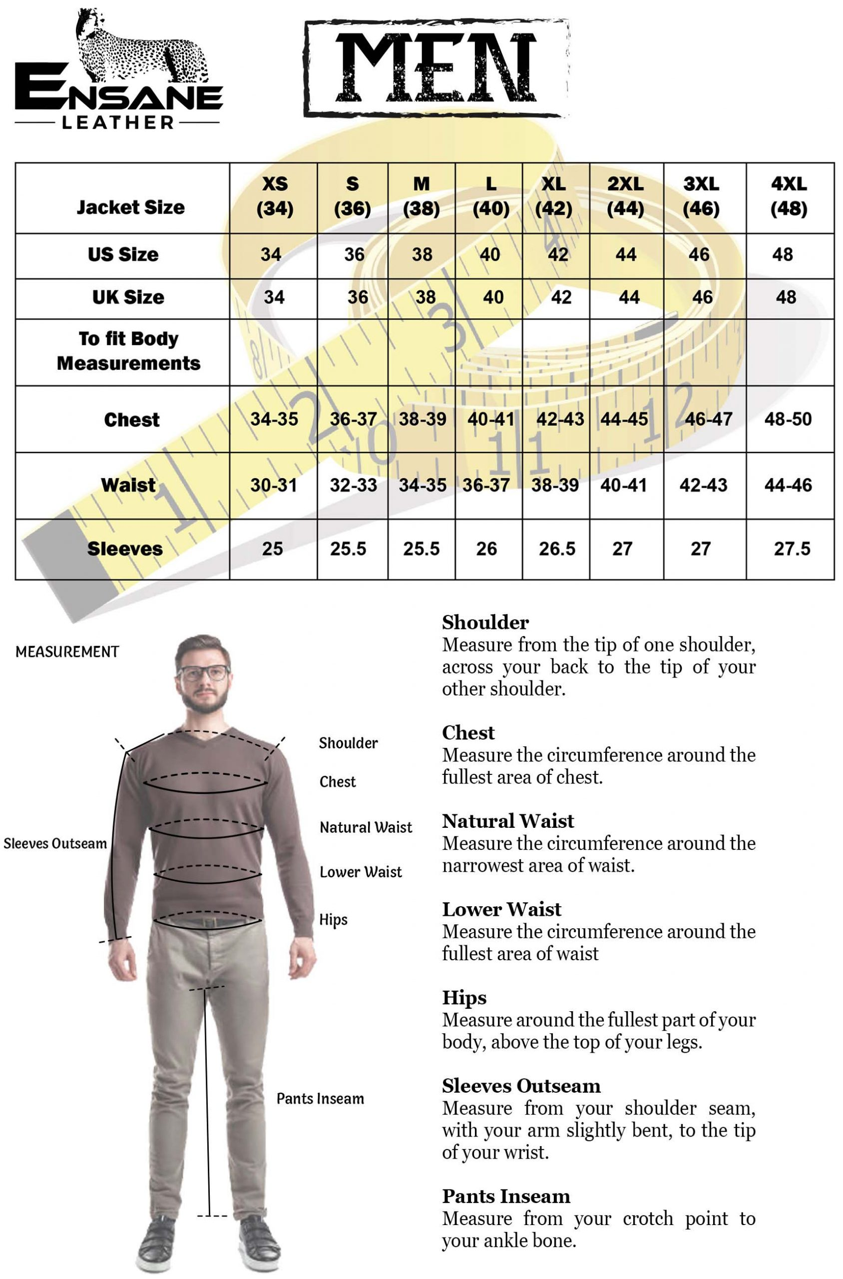 Men Jacket Size Chart