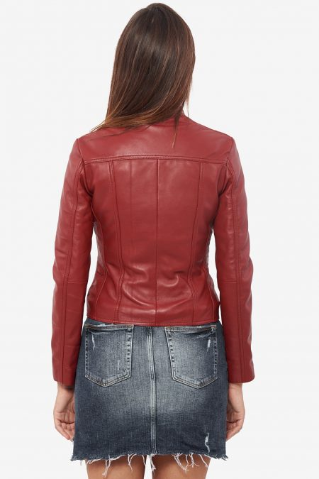trendy winter maroon jacket