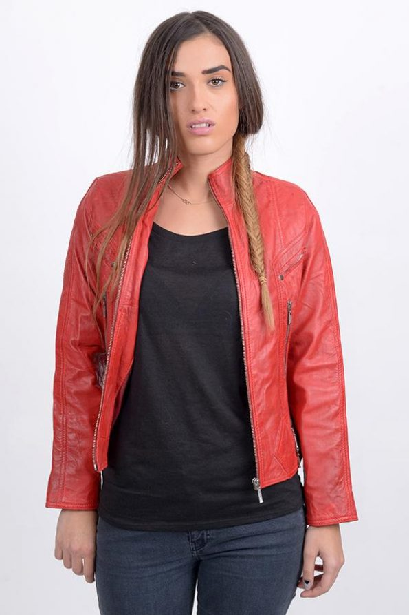 trendy red jacket