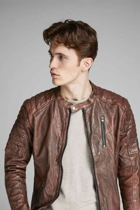 brown bomber jacket