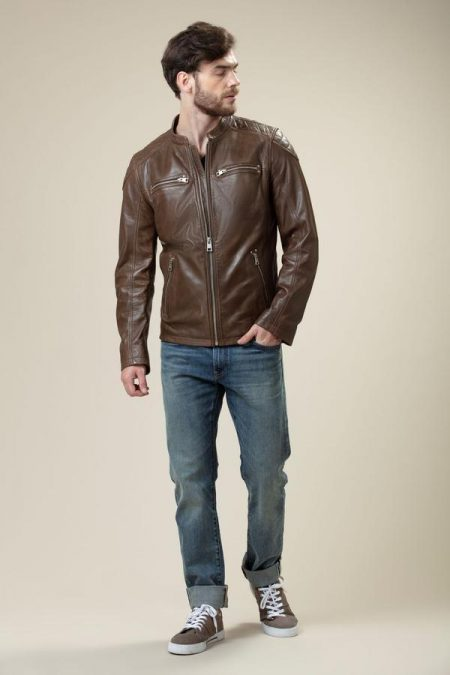 special brown round-collar jacket