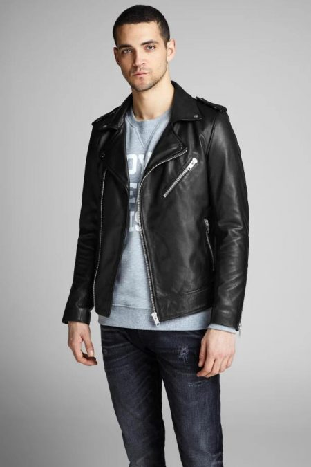 shiny black biker jacket