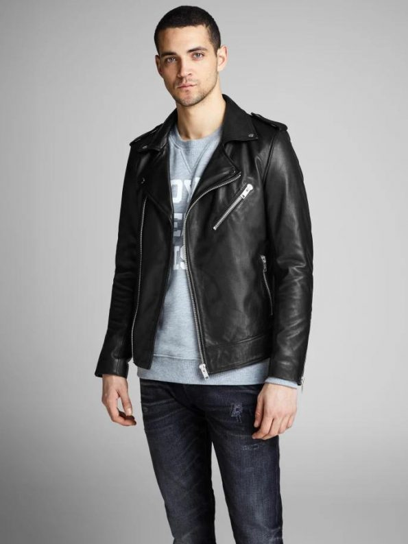 Best Shiny Black Biker Jacket For Men