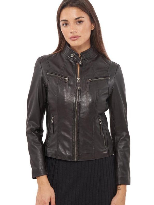 Exclusive Black Round Neck Bomber Jacket For Women's