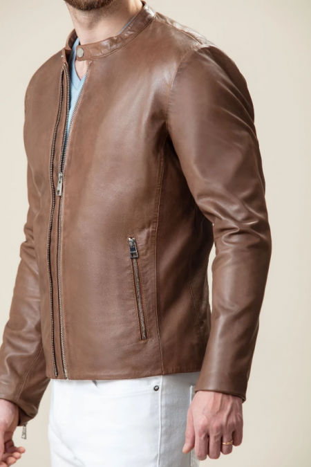 Elegant brown leather jacket