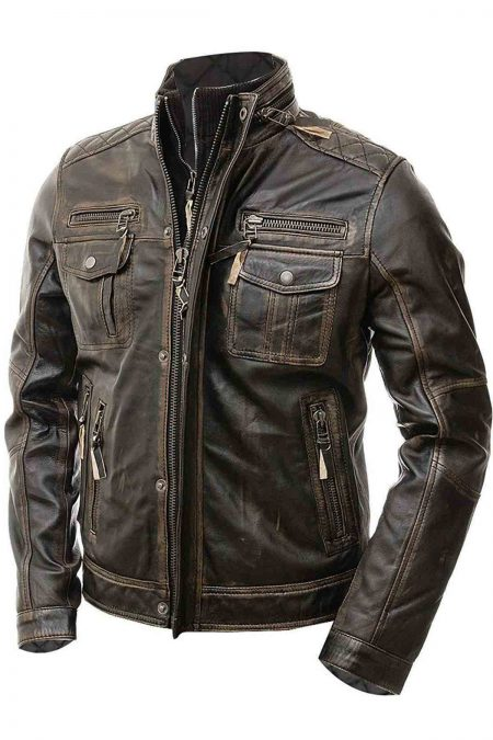 Mens Biker Motorcycle Vintage Cafe Racer Distressed Brown Real Leather Jacket5