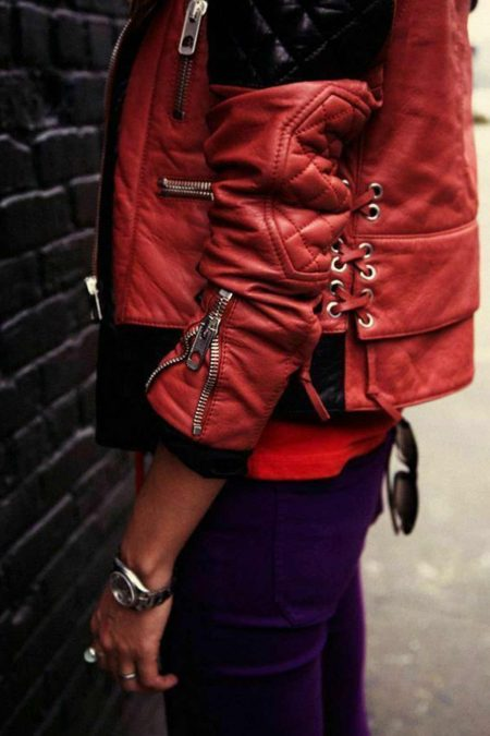 Women Slim Fit Moto Quilted Diamond Biker Red Black Leather Jacket2