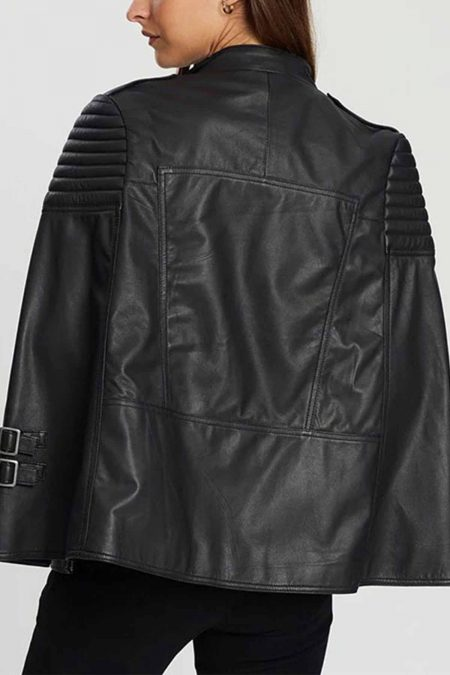 Biker Style Leather Cape Poncho 1