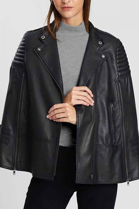 Biker Style Leather Cape Poncho