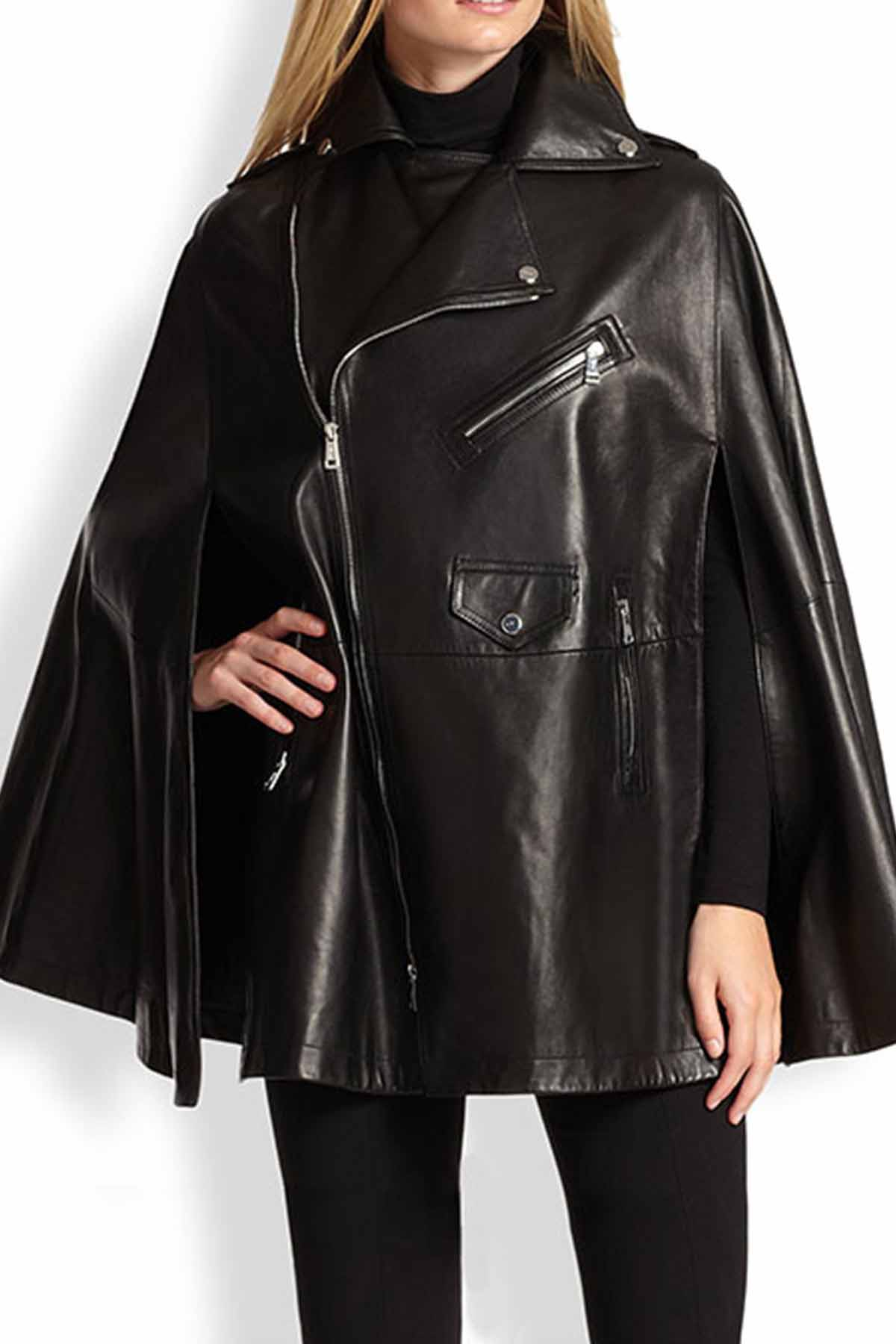 Leather Cape Poncho for women