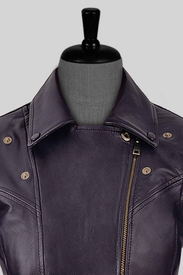 Natalie Portman Vox Lux Leather Jacket Collar